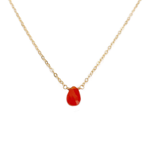 The carnelian necklace is a simple but elegant piece that can be dressed up or dressed down, depending on the occasion.  It is made with a single carnelian gemstone.