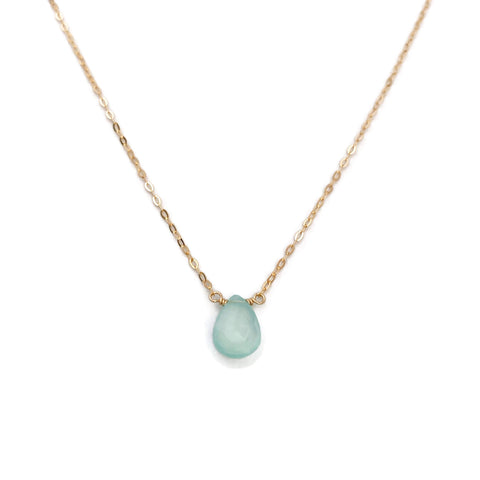This blue chalcedony necklace is perfect for a look that can be dressed up or dressed down, casual or formal.  This gemstone called 'chalcedony' is fastened by hand to make a soft aqua blue necklace, and can be made with a 14k gold, gold filled or sterling silver chain.