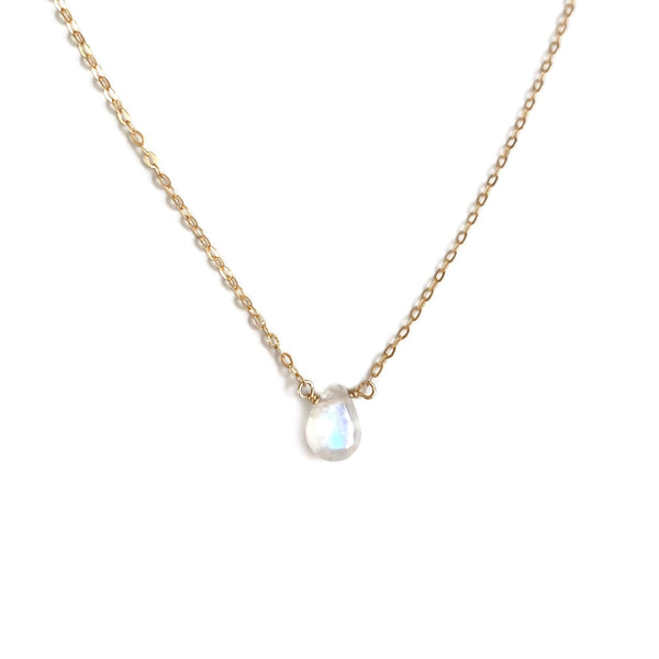 The rainbow moonstone necklace is adjustable from 16 inches to 18 inches long.