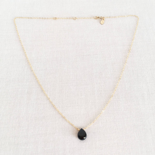 This onyx necklace is a black stone necklace.  It's adjustable  16 inches to 18 inches long.