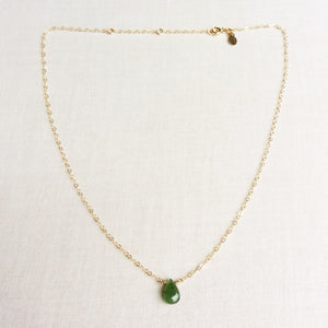 dainty polar jade necklace in gold filled chain