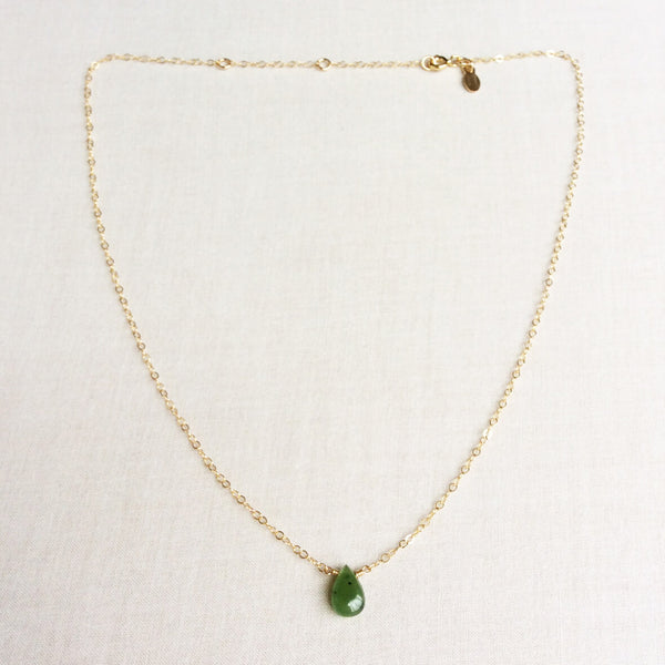 This is simple but elegant jade necklace for women is made with a single hand selected nephrite jade gemstone. This real jade necklace is adjustable 16 inches to 18 inches long.