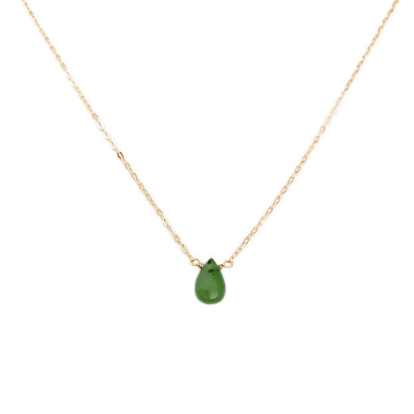 This real jade necklace is for women.  This jade necklace is made in 14k gold with a single size.