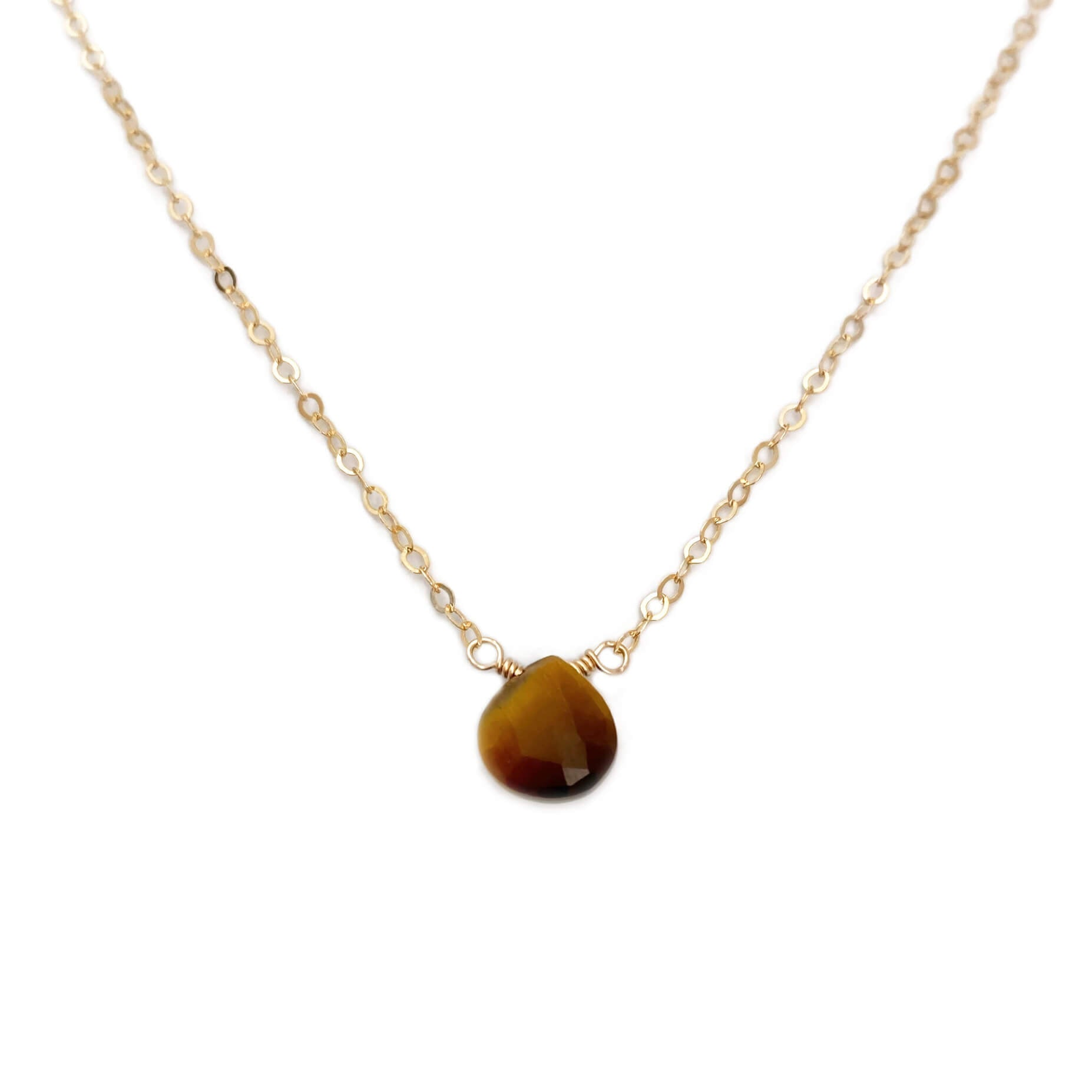 Dainty tiger eye necklace is made with a single tiger eye gemstone.