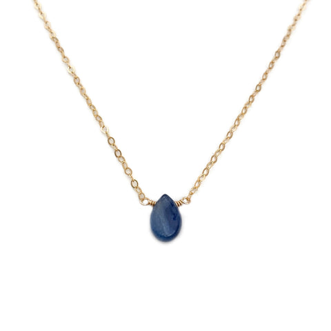 This kyanite necklace is made with a single blue kyanite stone.  Our more spiritual customers have told us about the blue kyanite meaning is to have the ability to protect and reflect the energy of the sky.