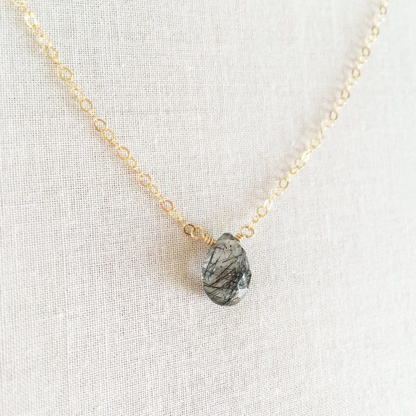14k gold Rutilated Quartz necklace 18 inches