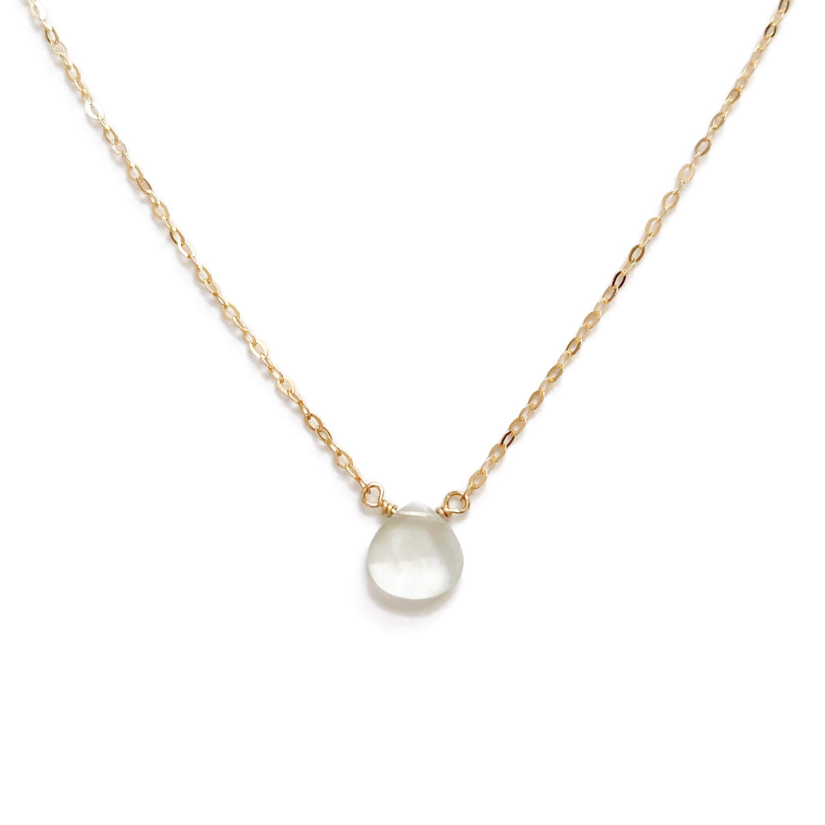 The elegant yet simple prehnite necklace is made in our San Francisco studio with your choice of 14k gold, gold fill or sterling silver chain.