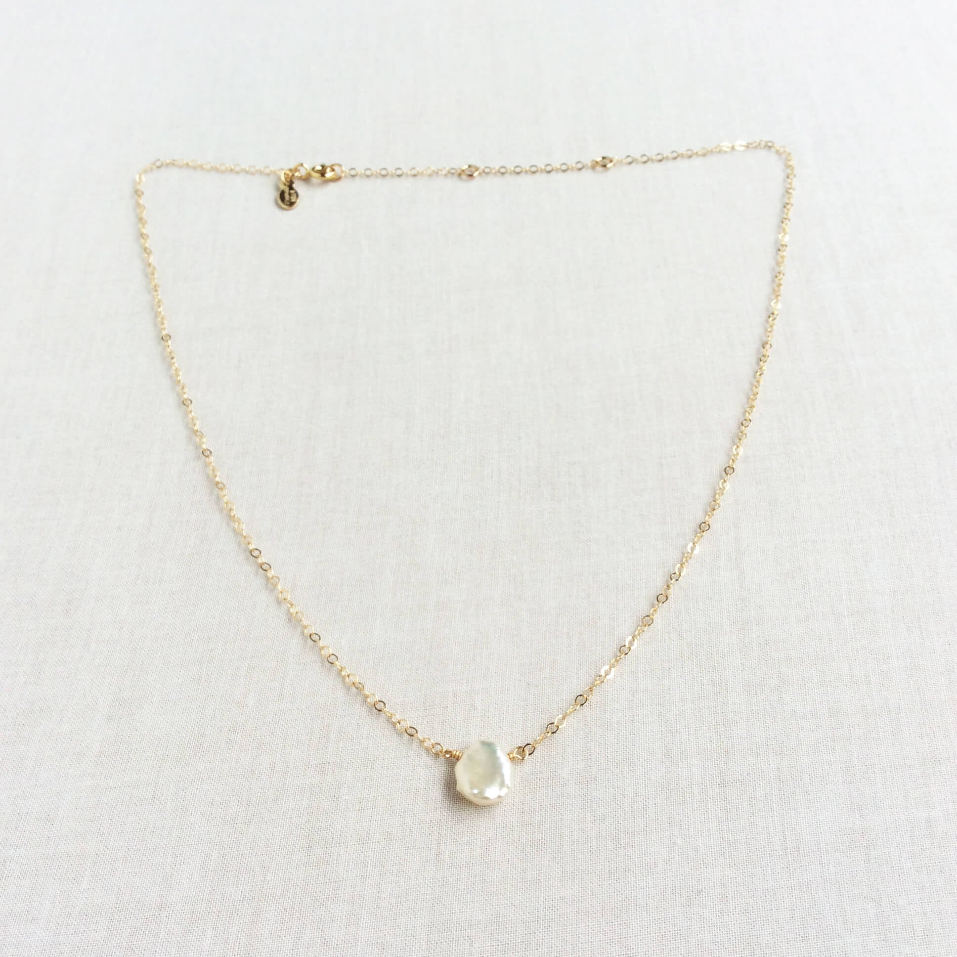 gold filled dainty Keshi Pearl necklace 16 inches to 18 inches