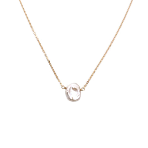 This Keshi pearl necklace is dainty and simple.