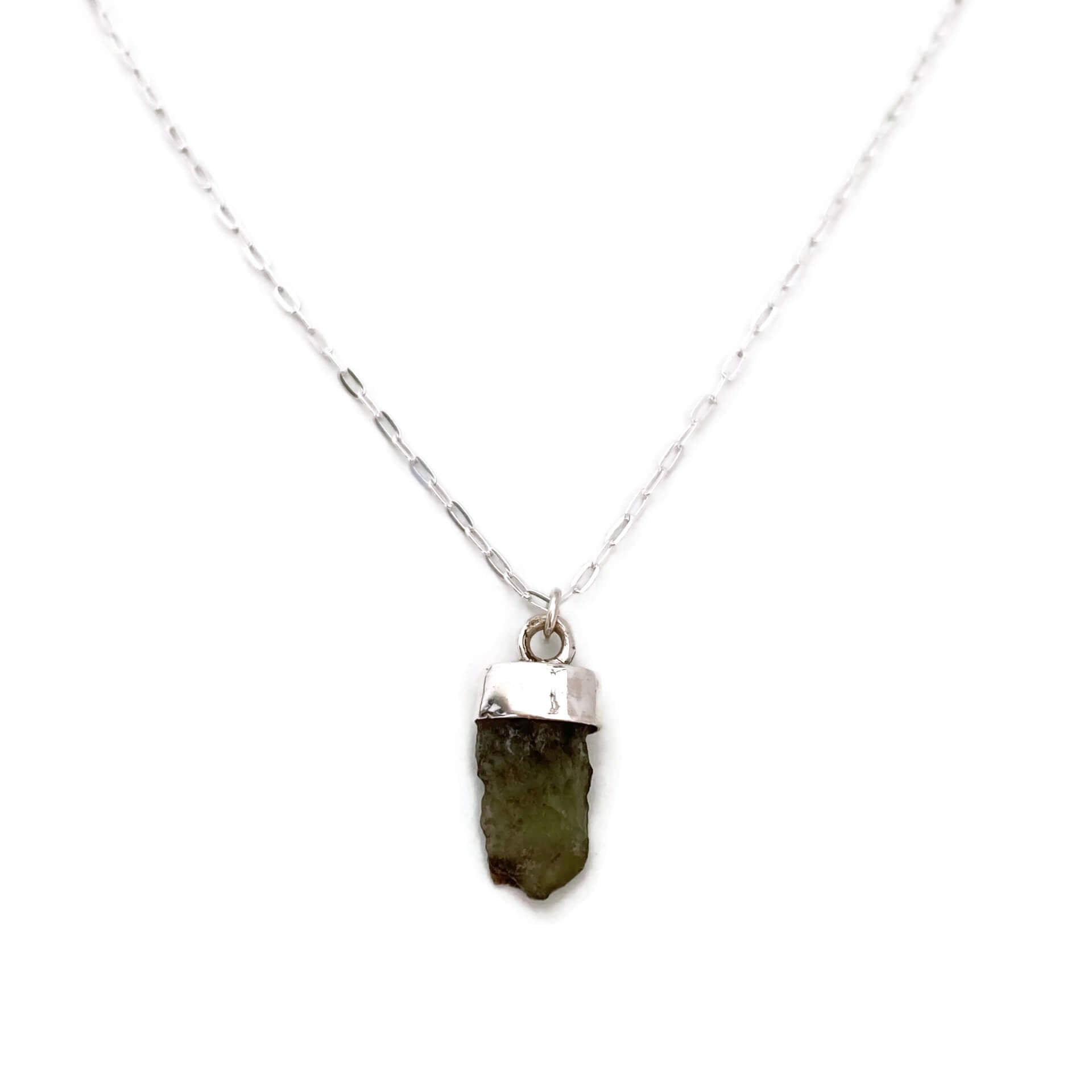 "This natural moldavite jewelry is made of real moldavite with sterling silver chain.  This sterling silver chain is 18"".  It's simple and dainty."