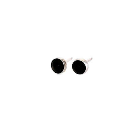 sterling silver black onyx stud earrings are 5mm.  Black Onyx helps to prevent the drain of personal energy.