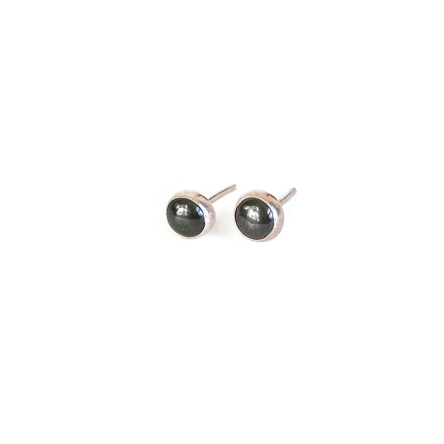 Hematite Stud Bezel Earrings