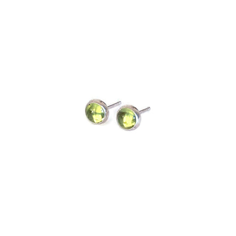 Sterling silver peridot stud earrings are August birthstone.