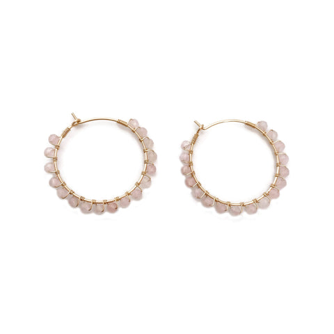 This rose quartz hoop earrings are around 1 1/4 inches.  They are versatile and great as everyday earrings.