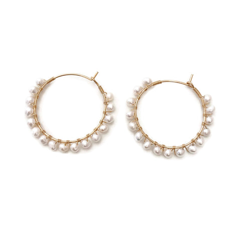 These are real pearl hoop earrings using organic fresh water pearls with wire wrapping around the hoops. They are classic and elegant. Great for your everyday style.