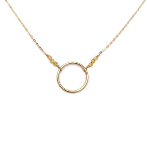 This citrine karma circle necklace is a November birthstone necklace.