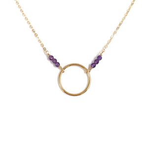 This simple Amethyst necklace is also a February birthstone necklace.