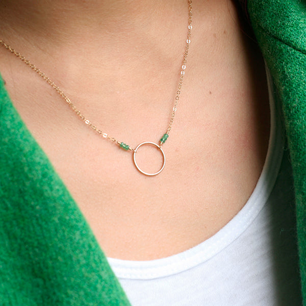 This simple emerald necklace is May birthstone necklace
