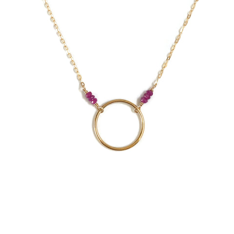 This simple ruby necklace is July birthstone necklace.