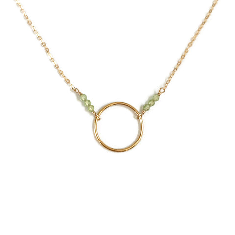 This simple peridot necklace is a August birthstone necklace.