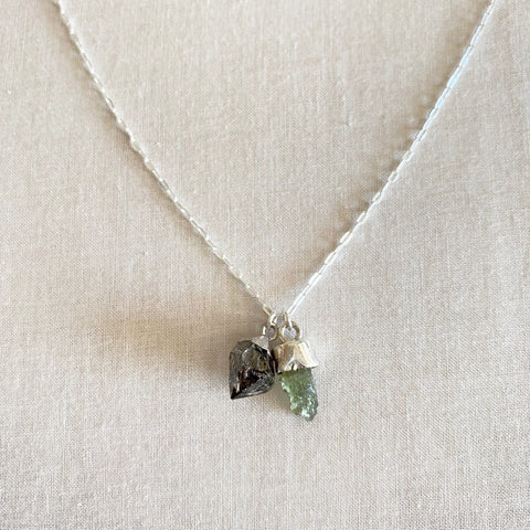 Moldavite & Herkimer Diamond Necklace