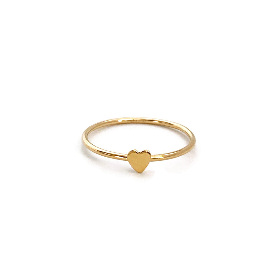 This dainty heart ring is made of gold filled.