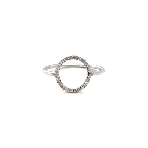 Sterling silver circle ring is simple and minimal.