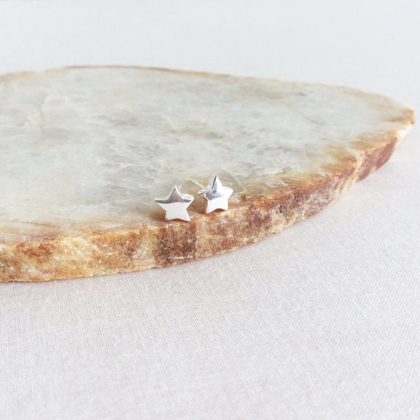 Sterling Silver Large Star Stud Earrings