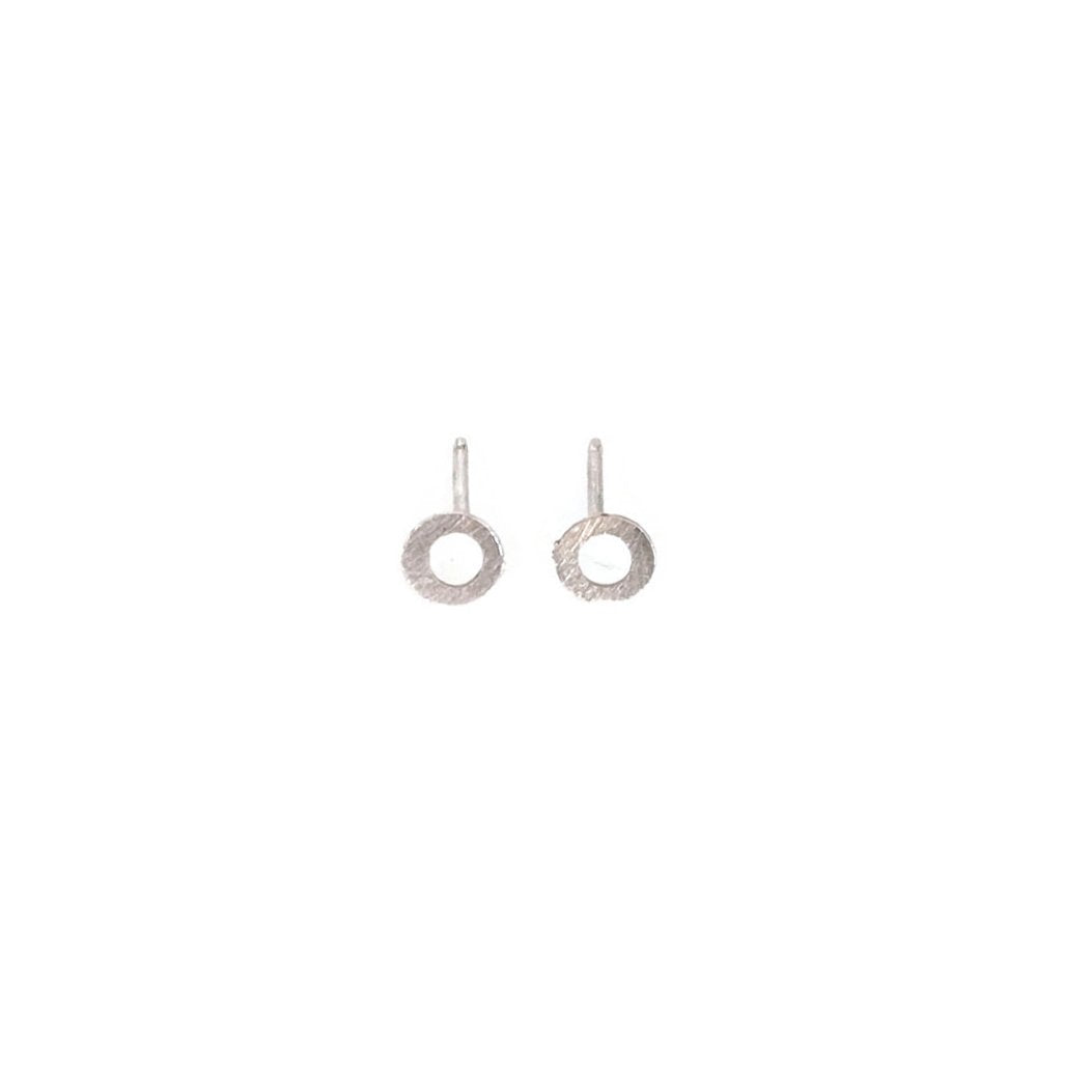 sterling silver matte finished circle stud earrings are modern and simple