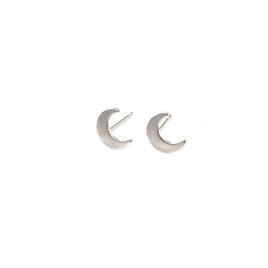 There are sterling silver crescent moon stud earrings.