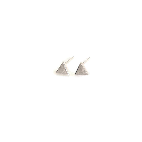 sterling silver triangle stud earrings are done with matte finish