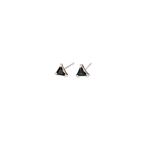 Sterling Silver Triangle Black CZ Stud Earrings