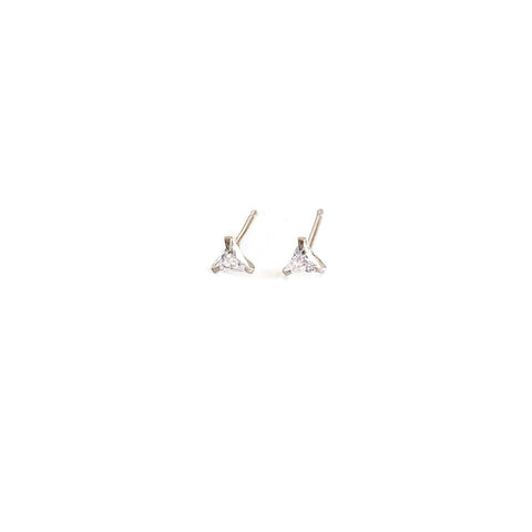 Triangle clear CZ studs are made of sterling silver.