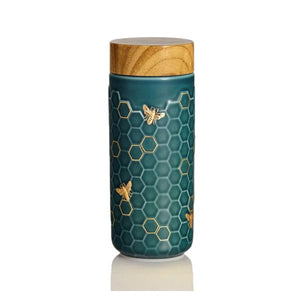 Liven Tourmaline Tumbler - Honey Bee - Peacock Green & Gold - Red Sparrow Tea Company