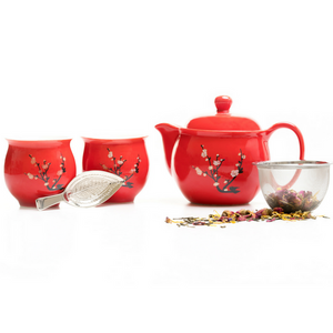 Cherry Blossom Tea Pot & Cups Set - Red Sparrow Tea Company