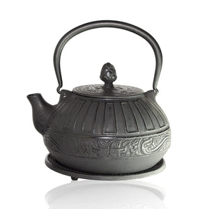 Cast Iron Teapot - Reflection Black - Red Sparrow Tea Company