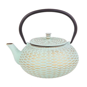 Cast Iron Teapot - Rattan - Mint/Gold