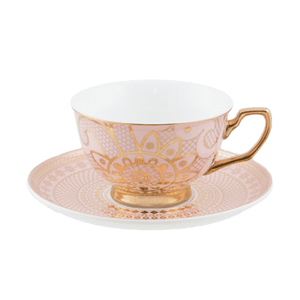 Teacup and Saucer - Georgia Lace Blush - Red Sparrow Tea Company