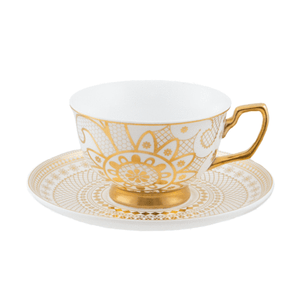 Teacup and Saucer - Georgia Lace Pearl - Red Sparrow Tea Company