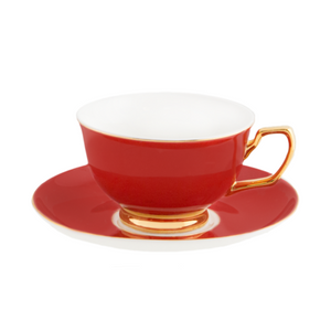 Teacup and saucer Ruby Red - Red Sparrow Tea Company