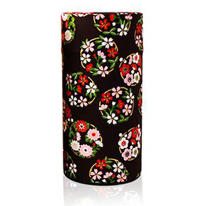Japanese Tea Canister - Flower Wheel Black - 200g