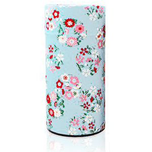 Japanese Tea Canister - Flower Wheel Light Blue - 200g