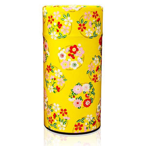 Japanese Tea Canister - Flower Wheel Yellow - 200g