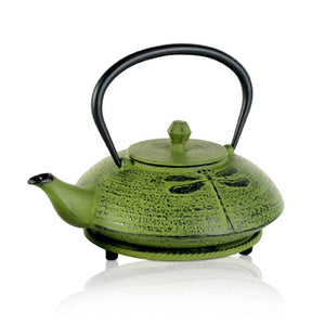 Cast Iron Teapot - Dragonfly Green - Red Sparrow Tea Company