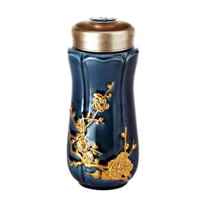 Liven Tourmaline Tumbler - Spring Plum - Sapphire Blue & Gold - Red Sparrow Tea Company
