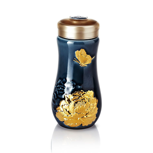 Liven Tourmaline Tumbler - Peony -  Sapphire Blue & Gold