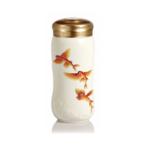 Liven Tourmaline Tumbler - Happy Goldfish - White
