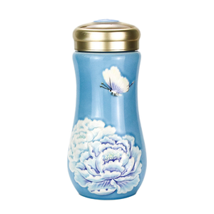 Liven Tourmaline Tumbler - Peony - Blue - Red Sparrow Tea Company