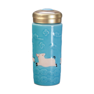 Liven Tourmaline Tumbler - Two Lucky Pigs - Blue - Red Sparrow Tea Company
