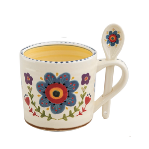 Natural Life - Hazel Mug & Spoon Set - Blue Flower